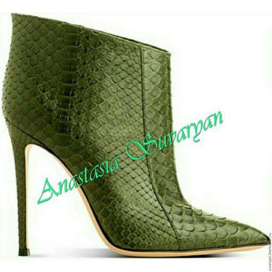 Обувь ручной работы. Ярмарка Мастеров - ручная работа. Купить ботинки. Handmade. Тёмно-зелёный, кожа, кожа натуральная