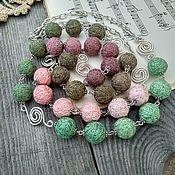 Украшения handmade. Livemaster - original item Long necklace Charm Chain Green Pink Boho Beads Silver. Handmade.