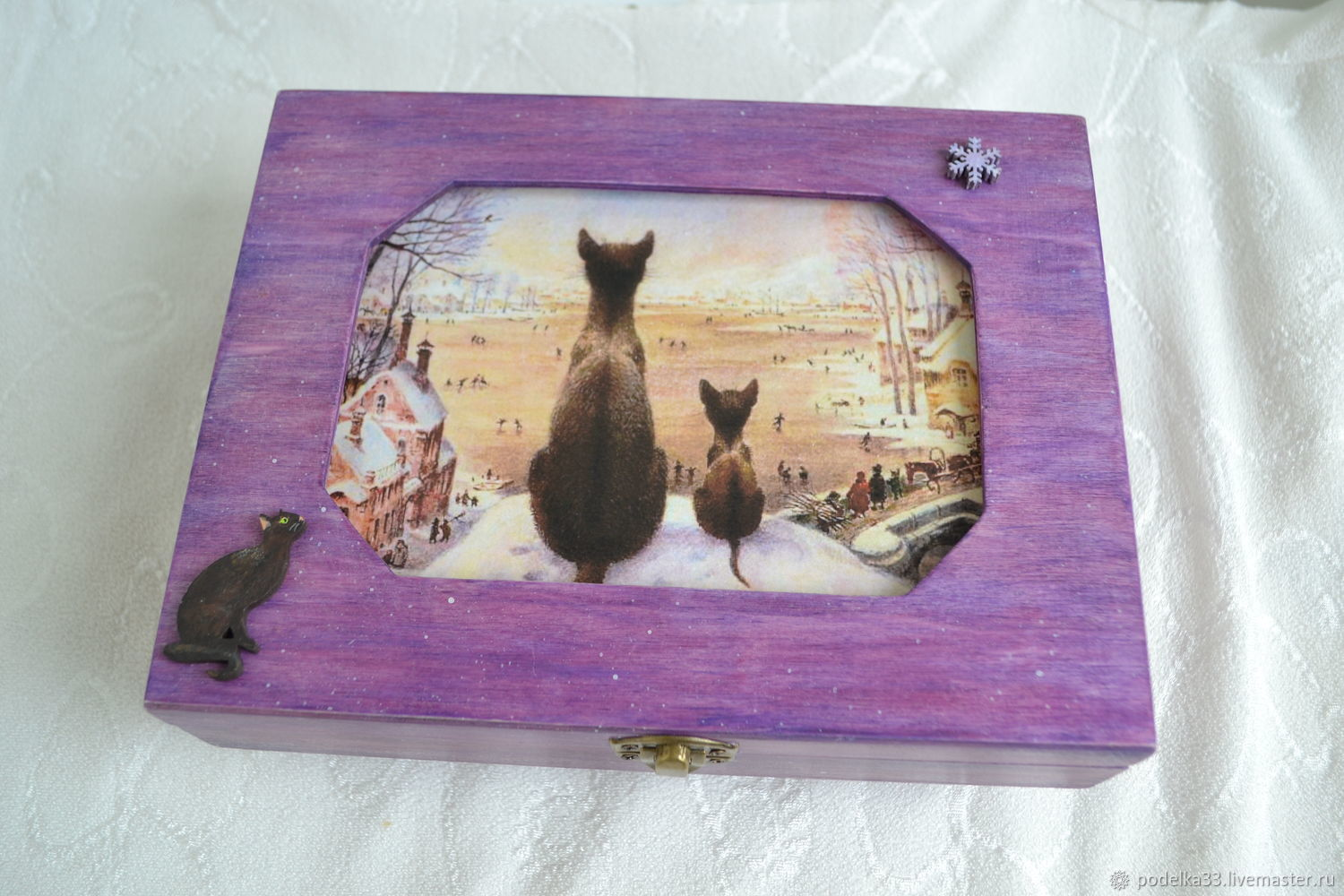Winter Cat Jewelry Box with Velvet Lilac, Box, Moscow,  Фото №1