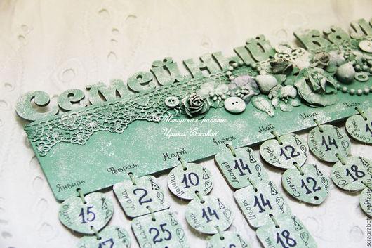 Календари ручной работы. Ярмарка Мастеров - ручная работа. Купить Семейный календарь №1. Handmade. Салатовый, деревянная свадьба
