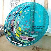 """Картины и панно ручной работы. Ярмарка Мастеров - ручная работа Панно из стекла """"Морская Вселенная"""", 30 см, фьюзинг. Handmade."""