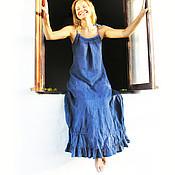 Одежда ручной работы. Ярмарка Мастеров - ручная работа Вечернее платье из льна цвета Индиго. Handmade.