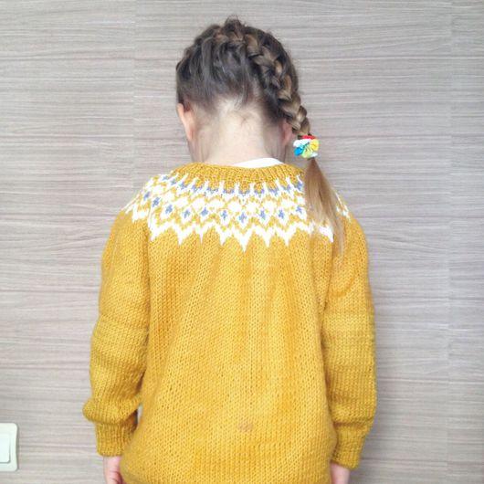 Одежда для девочек, ручной работы. Ярмарка Мастеров - ручная работа. Купить Кофта с жаккардом. Handmade. Кофточка вязаная, вязание жаккард