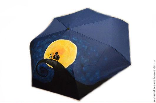 """Зонты ручной работы. Ярмарка Мастеров - ручная работа. Купить Зонт с ручной росписью """"Мультяшки"""". Handmade. Тёмно-синий"""