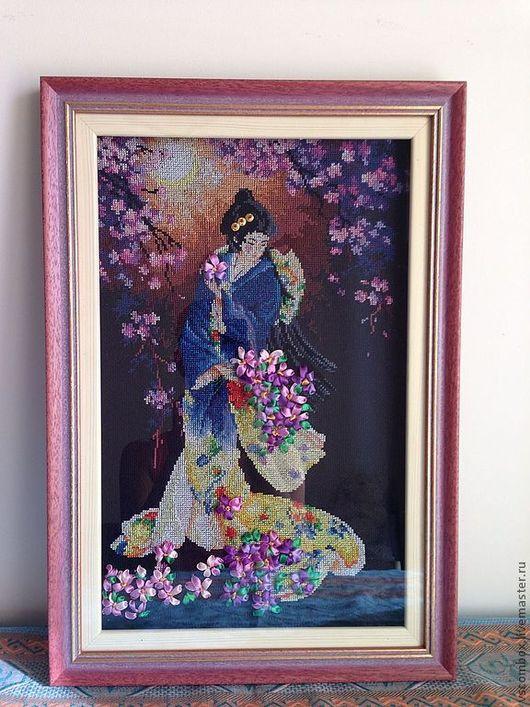 """Люди, ручной работы. Ярмарка Мастеров - ручная работа. Купить Картина """"Загодачная гейша"""". Handmade. Тёмно-фиолетовый, гейша"""