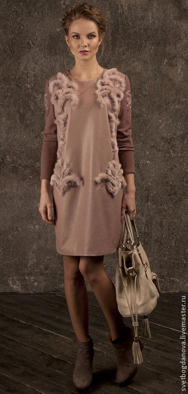 """Платья ручной работы. Ярмарка Мастеров - ручная работа. Купить Платье """"Ишгль"""". Handmade. Кремовый, пудровый мех, вышивка мехом"""