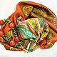 """Комплекты украшений ручной работы. Ярмарка Мастеров - ручная работа. Купить Комплект украшений текстильный шелковый (колье+серьги)""""Дорис""""(реплика). Handmade. Рыжий"""