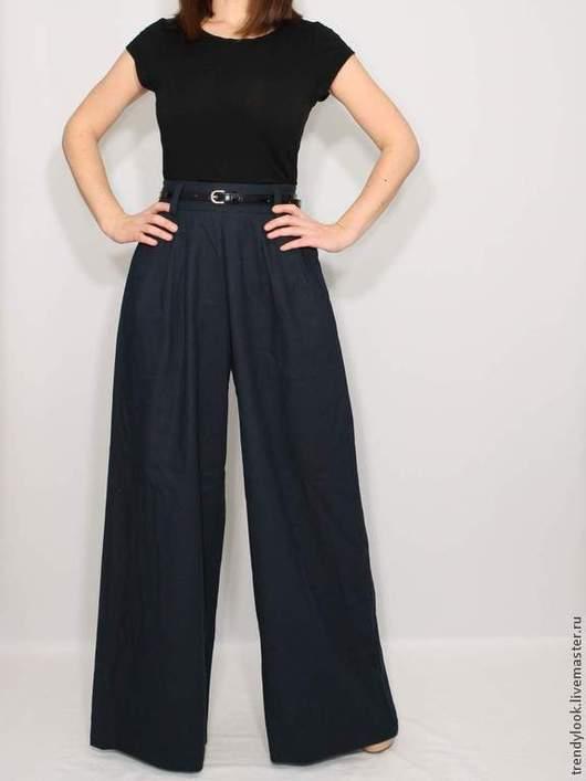 Брюки, шорты ручной работы. Ярмарка Мастеров - ручная работа. Купить Льняные брюки Темно синие брюки широкие. Handmade.