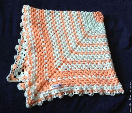 Пледы и одеяла ручной работы. Ярмарка Мастеров - ручная работа. Купить Детский плед Нежный персик. Handmade. В полоску