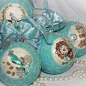 """Подарки к праздникам ручной работы. Ярмарка Мастеров - ручная работа Елочные шары """"Tiffany"""" 6 штук. Handmade."""