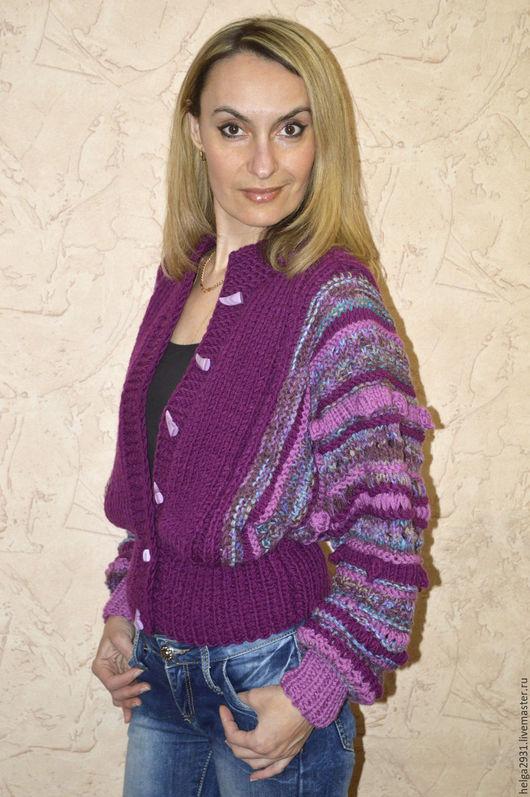 """Пиджаки, жакеты ручной работы. Ярмарка Мастеров - ручная работа. Купить Вязаная куртка """"Микс"""". Handmade. Тёмно-фиолетовый, микс"""