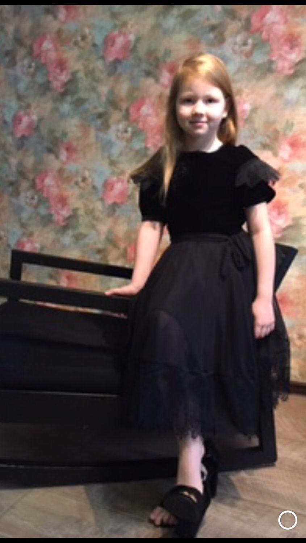 Платье для девочки «Бархат и кружево»