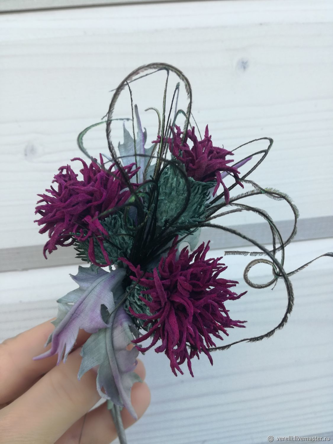 Leather flowers. Thistle leather 'Scottish evening'-2, Brooches, Moscow,  Фото №1