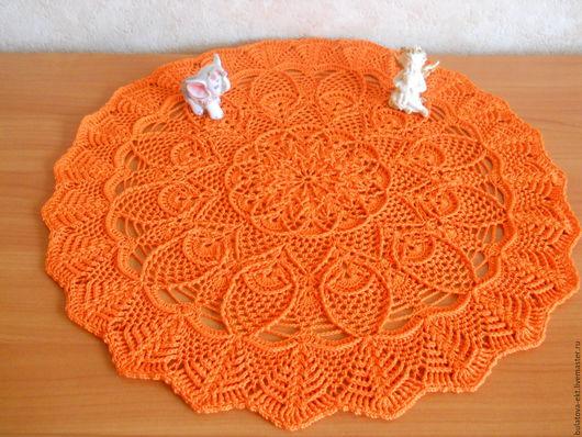 Текстиль, ковры ручной работы. Ярмарка Мастеров - ручная работа. Купить Салфетка вязаная Оранжевые ананасы. Handmade. Салфетка вязаная