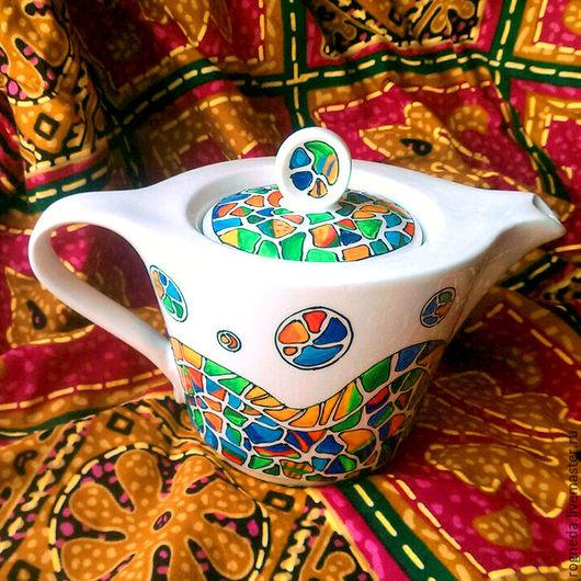 """Чайники, кофейники ручной работы. Ярмарка Мастеров - ручная работа. Купить Чайник """"Мозаика Гауди"""". Handmade. Комбинированный, чайник с росписью"""