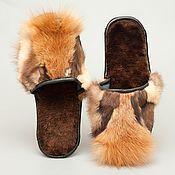 Обувь ручной работы. Ярмарка Мастеров - ручная работа Меховые тапочки из лисы «Дикий Запад». Handmade.