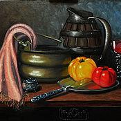 Картины и панно ручной работы. Ярмарка Мастеров - ручная работа Картина маслом Натюрморт в старинном стиле.. Handmade.