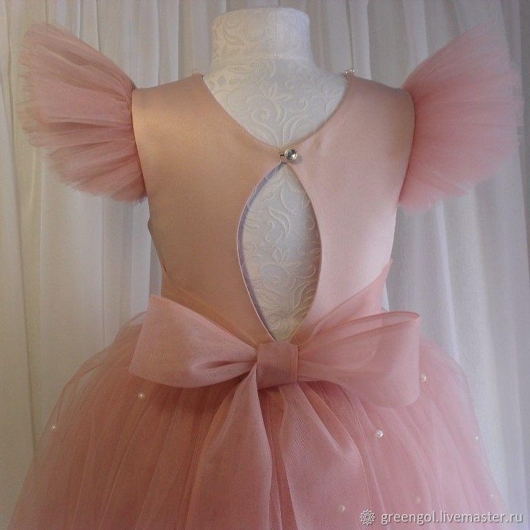Платье цвета пудры с перламутровыми бусинами, Платья, Электросталь,  Фото №1