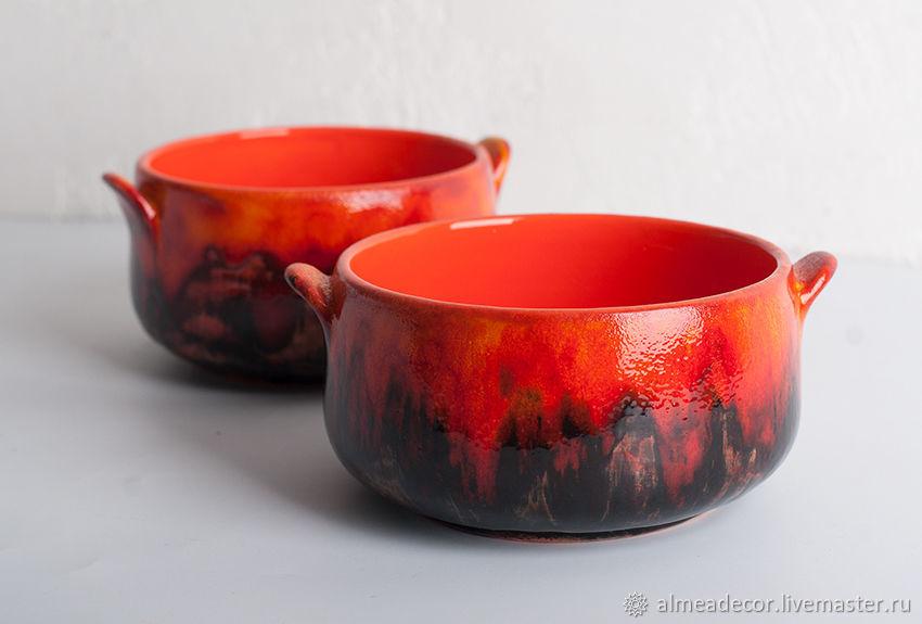 Пиалы ручной работы. Ярмарка Мастеров - ручная работа. Купить Огненно-рыжие пиалы-супницы. Handmade. Керамика, оранжевый, подарок