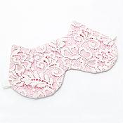 Одежда ручной работы. Ярмарка Мастеров - ручная работа Розовая Маска для сна кошка, кружевная маска кот, подарок женщине. Handmade.
