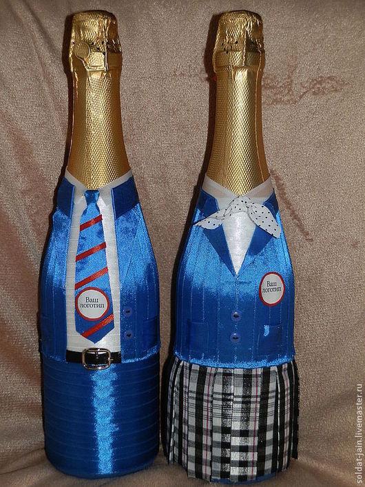 """Подарочное оформление бутылок ручной работы. Ярмарка Мастеров - ручная работа. Купить """"Школьники"""". Handmade. Подарок, партнеры, форма"""