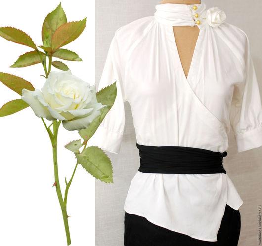 Блузки ручной работы. Ярмарка Мастеров - ручная работа. Купить Белая блузка с двумя розами . офис. Handmade. Белый