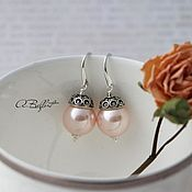Украшения handmade. Livemaster - original item silver plated earrings with pearls of Majorca