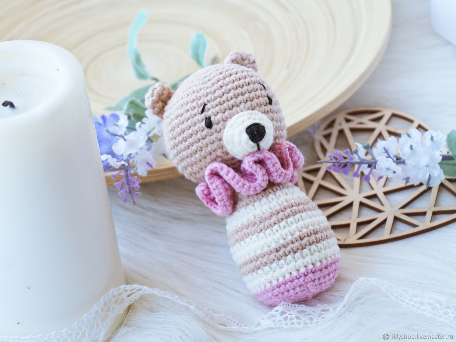 Crocheted rattle for a girl-Bear, Rattles, St. Petersburg,  Фото №1