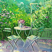 Картины и панно handmade. Livemaster - original item Oil painting on canvas. In the shade garden.. Handmade.