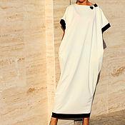 Белое макси элегантное платье, кафтан, абайя весна лето