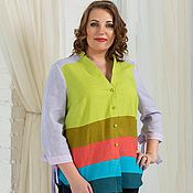 Одежда handmade. Livemaster - original item Linen shirt bright colors. Handmade.