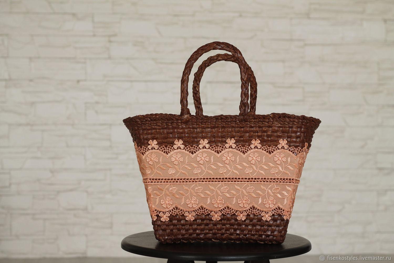 Коричневая плетённая эко сумка_рогоза_прошва_весна/лето_Fisenko brand