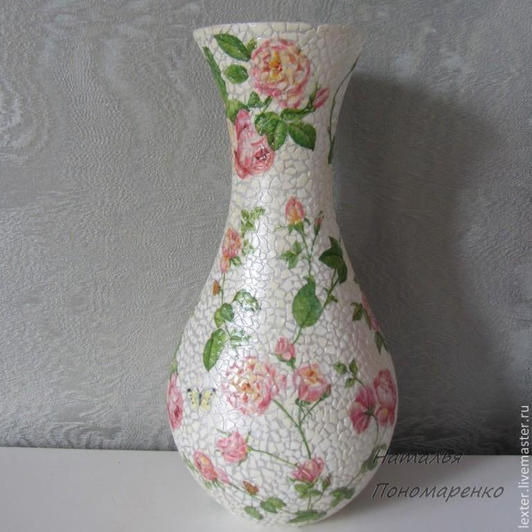 Вазы ручной работы. Стеклянная ваза  Лето.Розы