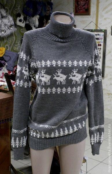 Кофты и свитера ручной работы. Ярмарка Мастеров - ручная работа. Купить Зимний свитер с оленями. Handmade. Серый, зимний свитер
