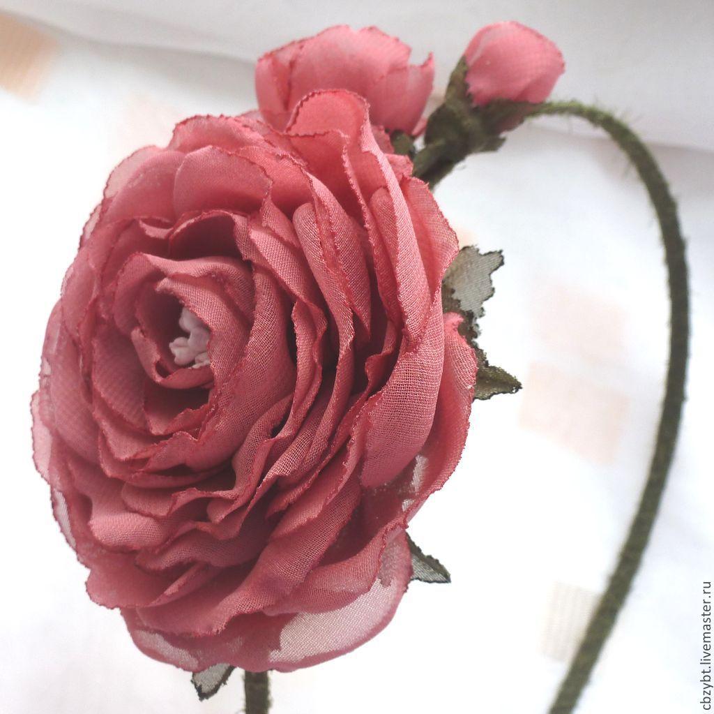 """Ободок   """" Воспоминание"""". Цветы из ткани, Диадемы обручи, Юрга, Фото №1"""