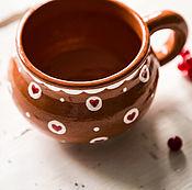 Посуда handmade. Livemaster - original item Red hearts.. Pottery mug with hand-painted.. Handmade.