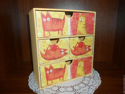 """Мини-комоды ручной работы. Ярмарка Мастеров - ручная работа. Купить Мини комод """"Рыжие коты"""".. Handmade. Оранжевый"""