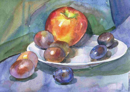 `Сливы и яблоко`  - этюд с натуры; акварель, 23х30