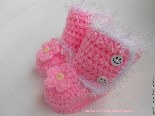 """Для новорожденных, ручной работы. Ярмарка Мастеров - ручная работа. Купить Пинетки-Угги """"Розовое облачко"""". Handmade. Розовый"""