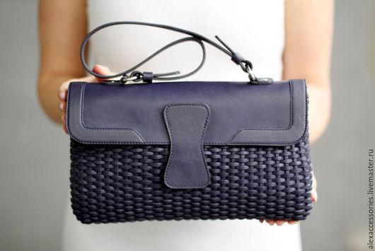 """Женские сумки ручной работы. Ярмарка Мастеров - ручная работа. Купить Кожаная сумка """"Miles"""" (синяя), синяя кожаная сумка, сумка синяя. Handmade."""