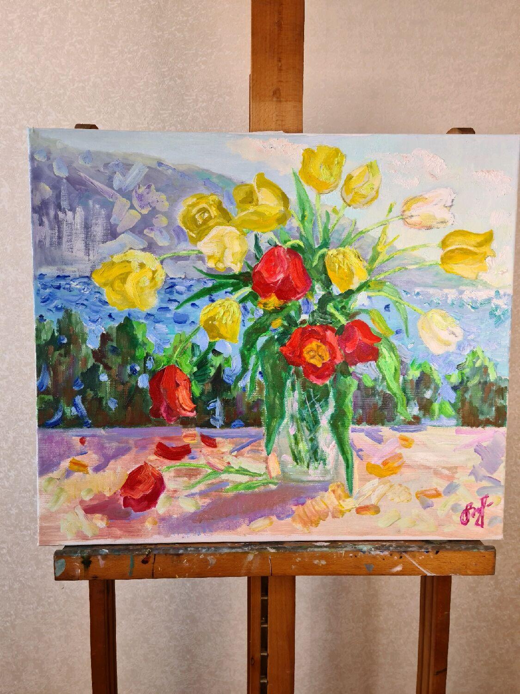 """""""Тюльпаны"""", холст/масло, 70*60, Картины, Севастополь,  Фото №1"""