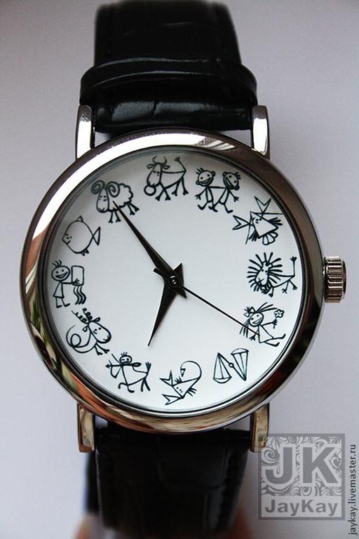 """Часы ручной работы. Ярмарка Мастеров - ручная работа. Купить Часы наручные JK """"12 зодиаков"""". Handmade. Подарок, Зодиак"""