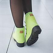 Обувь ручной работы. Ярмарка Мастеров - ручная работа Ботинки Валяные Лайм. Handmade.