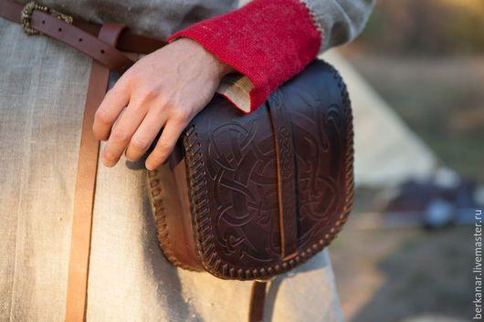 Мужские сумки ручной работы. Ярмарка Мастеров - ручная работа. Купить Большая кожаная сумка «Викинг». Handmade. Коричневый