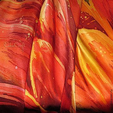 Аксессуары ручной работы. Ярмарка Мастеров - ручная работа Шелковый платок  - Мой пламенный георгин , батик, ручная роспись. Handmade.