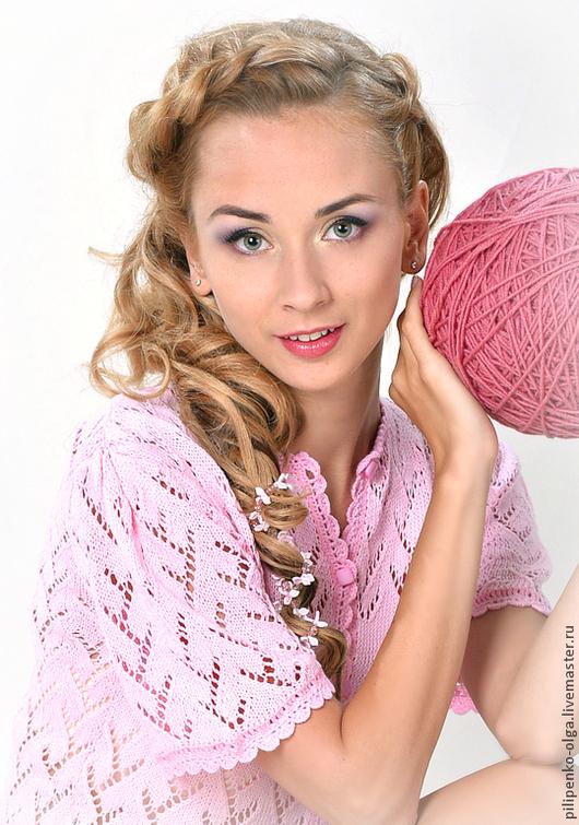 Кофты и свитера ручной работы. Ярмарка Мастеров - ручная работа. Купить Розовая нежность. Handmade. Розовый, бледно-розовый, хлопок