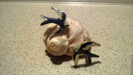 """Серьги ручной работы. Ярмарка Мастеров - ручная работа. Купить Серьги """"Ласточки"""". Handmade. Тёмно-синий, оригинальные украшения, сережки"""