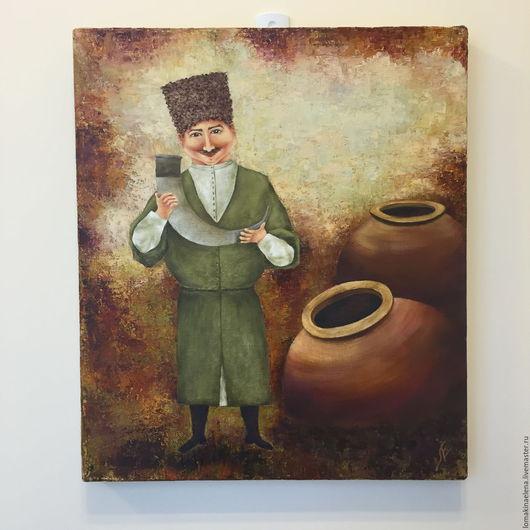 Люди, ручной работы. Ярмарка Мастеров - ручная работа. Купить Картина Истина в вине. Handmade. Разноцветный, кувшин для вина, масло