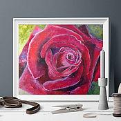 Картины ручной работы. Ярмарка Мастеров - ручная работа Картина с розой: Портрет Бархатной розы. Handmade.