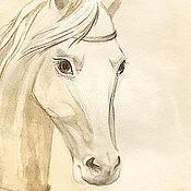 """Картины ручной работы. Ярмарка Мастеров - ручная работа Акварель """"Белая лошадь"""", картина акварелью.. Handmade."""